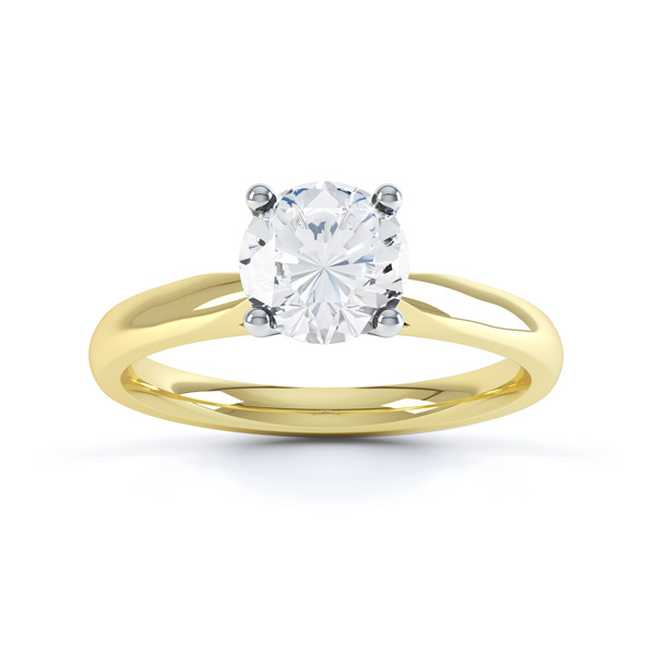 Harmony 4 claw solitaire diamond engagement ring yellow gold top view