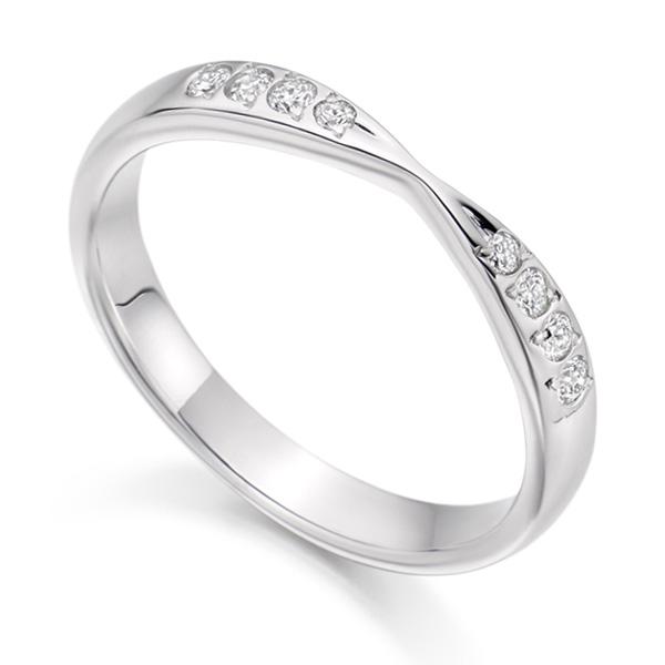 HET2287 Ribbon Twist Diamond Wedding Ring White Gold