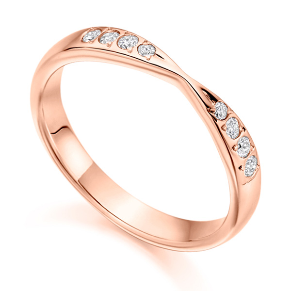 HET2287 Ribbon Twist Diamond Wedding Ring Rose Gold