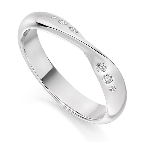 Flush set ribbon twist shaped wedding ring white gold