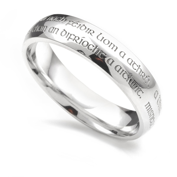 Wedding Vow Ring - Wedding band engraved with vows shown in Platinum