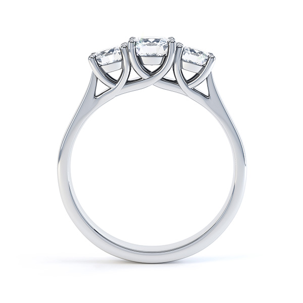 Graduated 3 Stone Engagement Ring With Trellis Setting