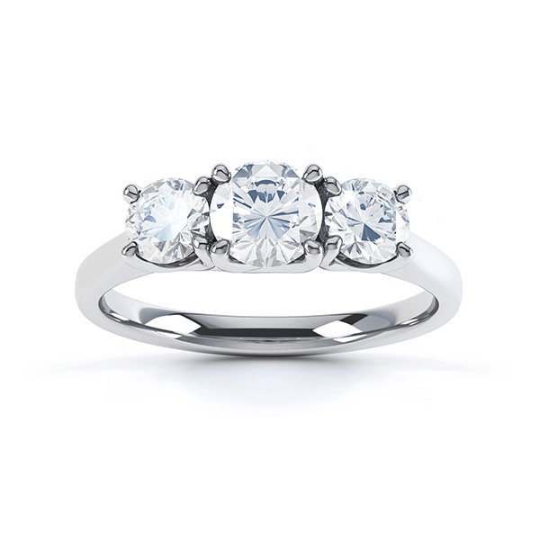 Brooklyn - Modern 3 stone diamond engagement ring top view white gold