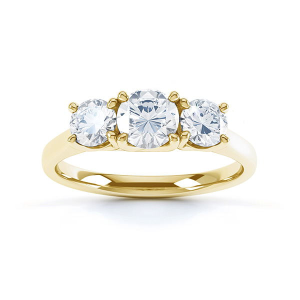 Brooklyn - Modern 3 stone diamond engagement ring top view yellow gold