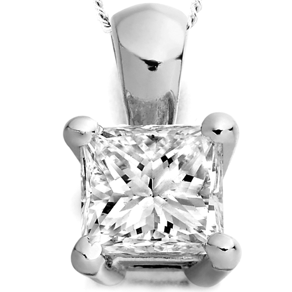 Four Claw Princess Cut Diamond Pendant