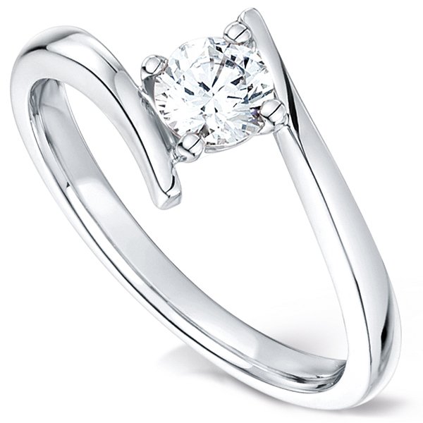 Crossover solitaire diamond engagement ring white gold perspective