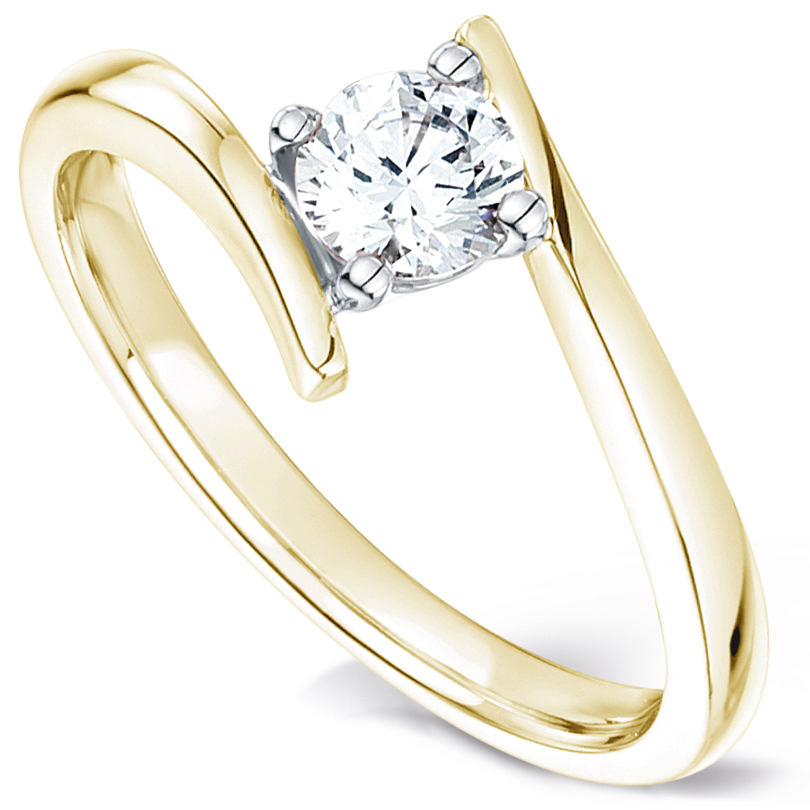 Crossover solitaire diamond engagement ring yellow gold perspective