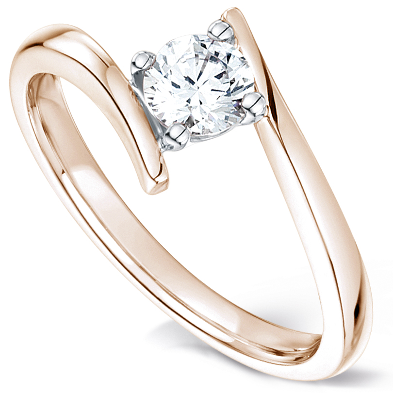 Crossover solitaire diamond engagement ring rose gold perspective