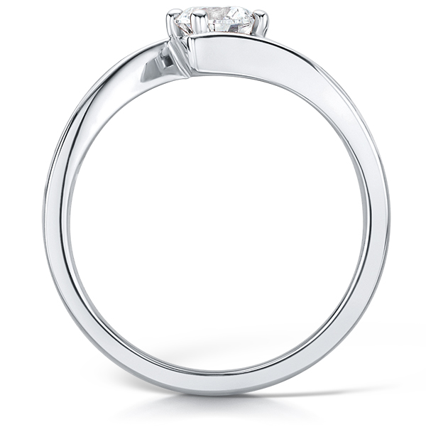 Crossover solitaire diamond engagement ring white gold side view