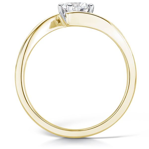 Crossover solitaire diamond engagement ring yellow gold side view