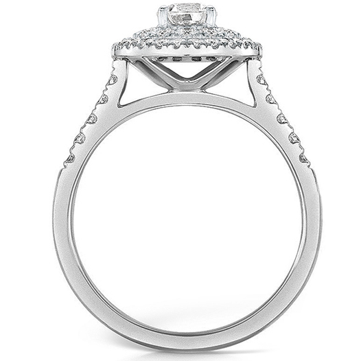 Double halo diamond ring in Platinum
