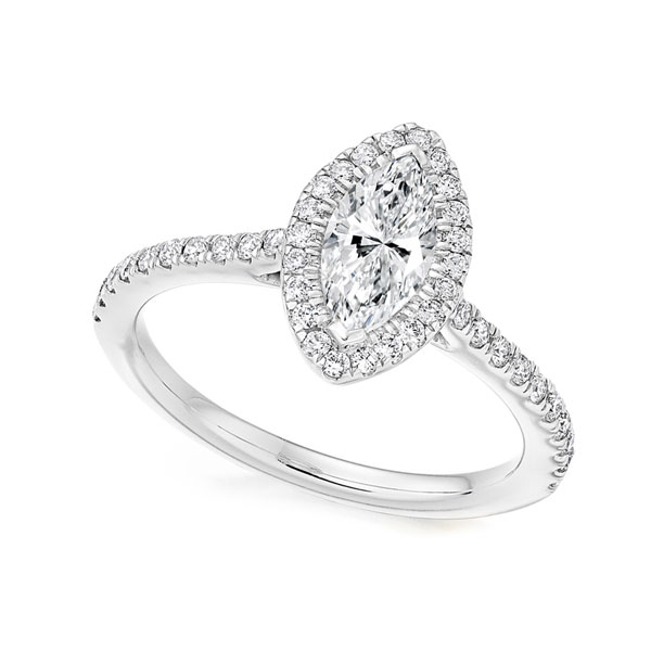 Marquise Diamond Halo Engagement Ring with diamond shoulders