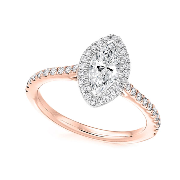 Marquise Diamond Halo Engagement Ring Rose Gold