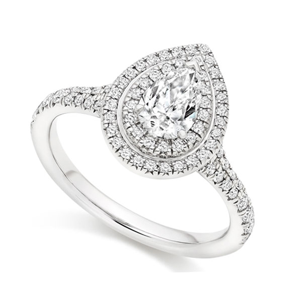 Pear shaped double halo diamond engagement ring