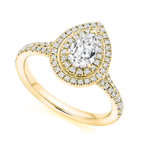 Pear double halo diamond ring