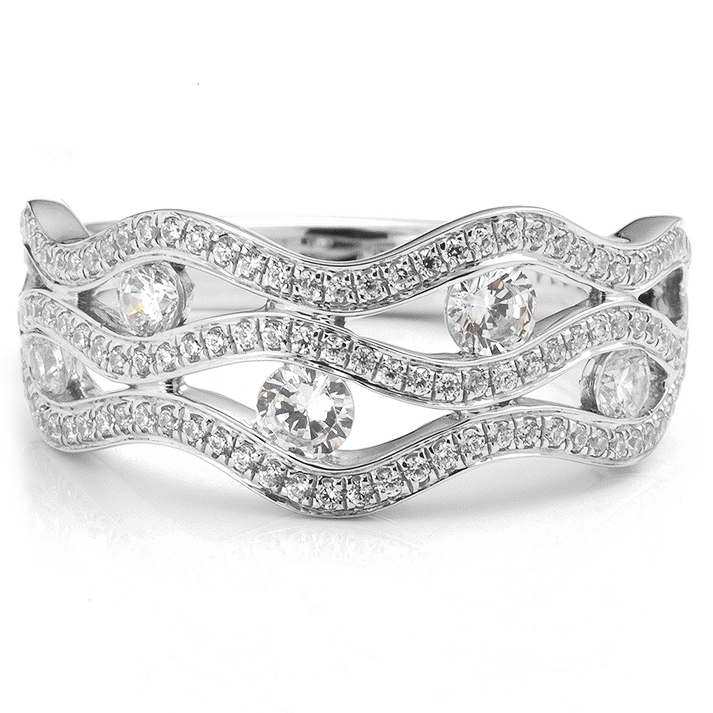 diamond wave ring with tension set diamonds