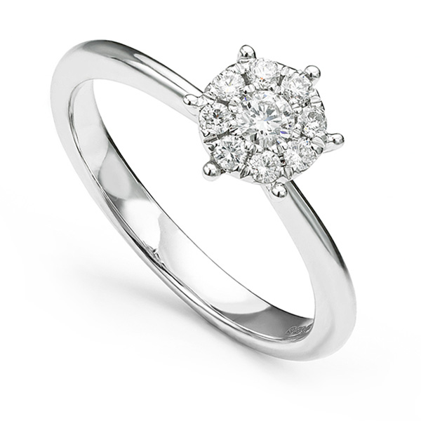 Starla diamond solitaire effect cluster engagement ring