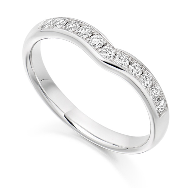 Curved shaped diamond wedding band, white gold