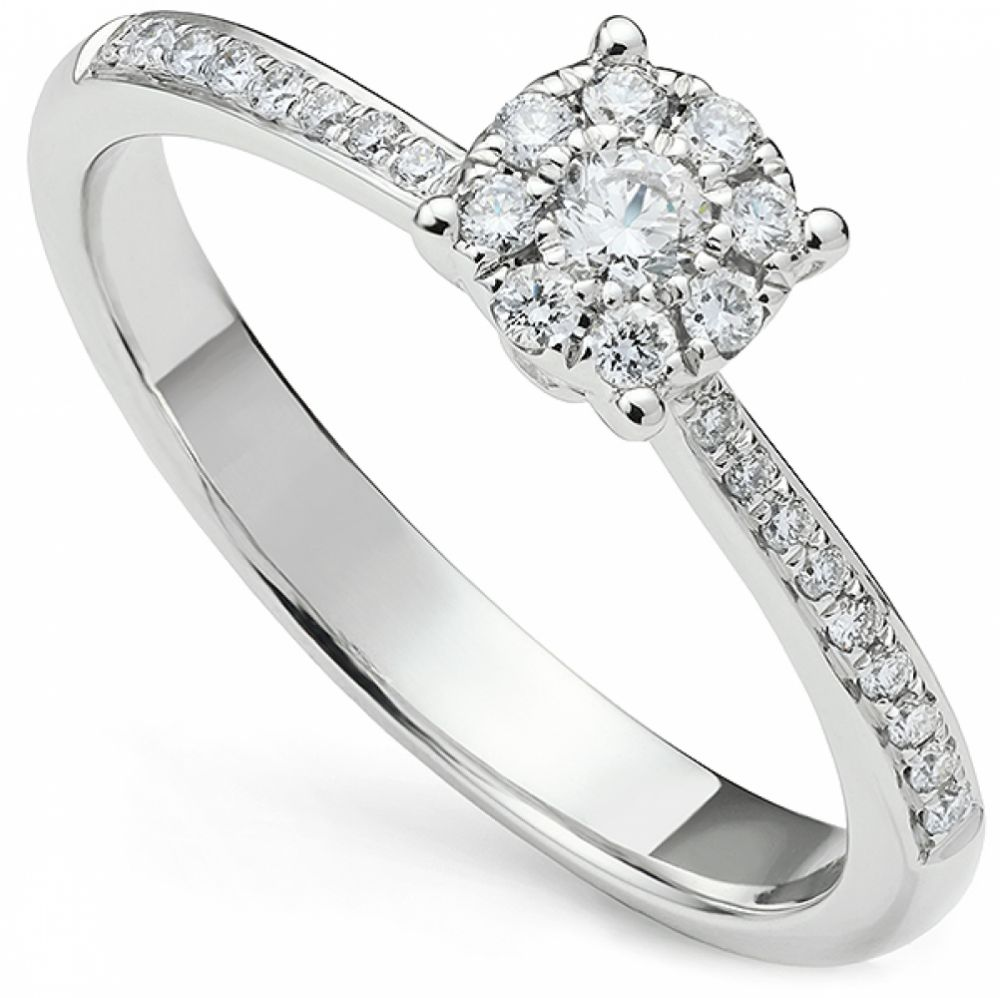 Illusion Solitaire Engagement Ring With Diamond Shoulders