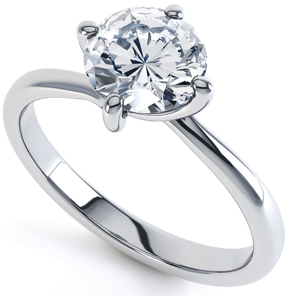 18ct White Gold 4-claw Twist Solitaire