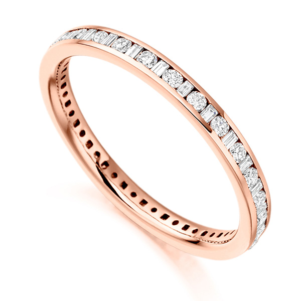 baguette and round brilliant cut diamond eternity ring rose gold