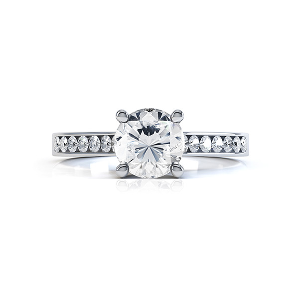 Diamond shoulder engagement ring