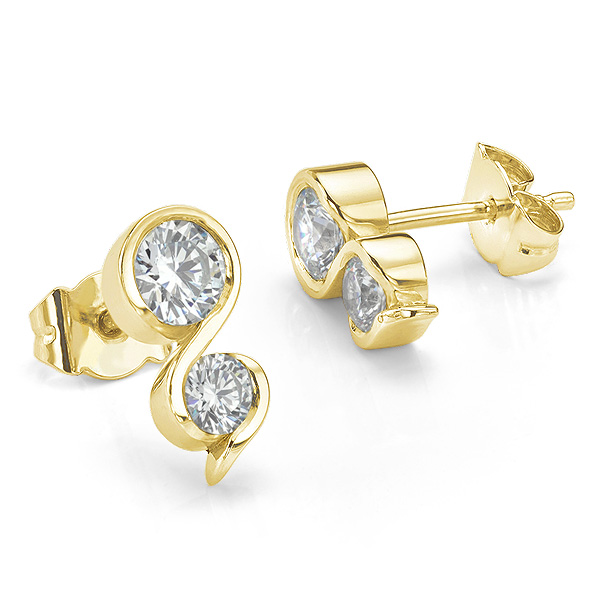 Two stone diamond swirl earrings in 18ct Yellow Gold