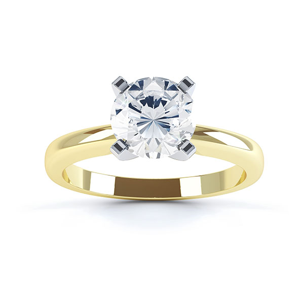 Top view R1D001 four claw solitaire engagement ring yellow gold