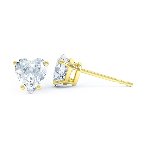 4 Claw Heart Shaped Diamond Solitaire Earrings Side View yellow gold