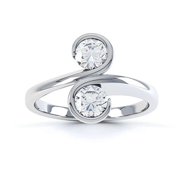 Two stone engagement ring top view