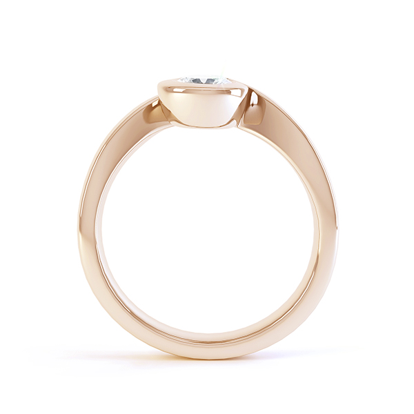 Asymmetrical engagement ring rose gold side view