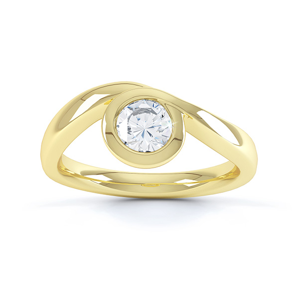 Asymmetrical engagement ring yellow gold top view
