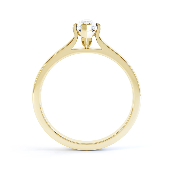 Yellow gold side view of the marquise solitaire Irisia design