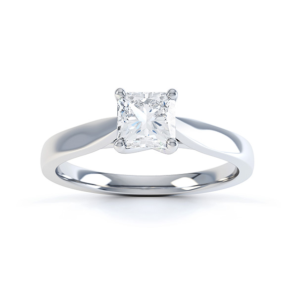 0.25cts four claw radiant cut diamond engagement ring top view