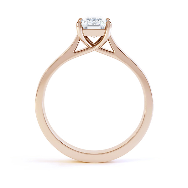 Modern 4 Claw Emerald Cut Diamond Engagement Ring side view rose gold