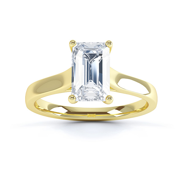 Modern 4 Claw Emerald Cut Diamond Engagement Ring top view yellow gold