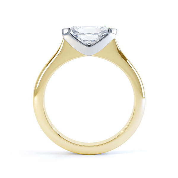 Sideways East-West Set Marquise Diamond Ring Side View Yellow Gold