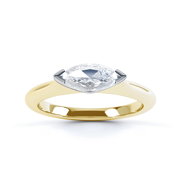 Sideways East-West Set Marquise Diamond Ring Top View Yellow Gold