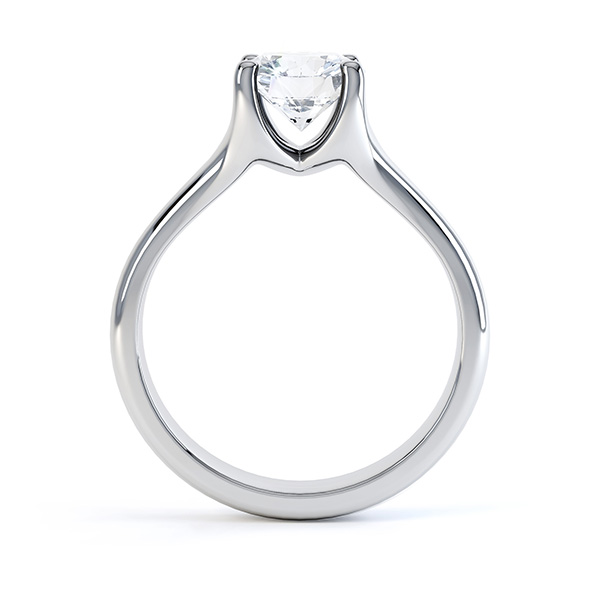 Side view of the Paris, split shoulder diamond solitaire engagement ring, white gold