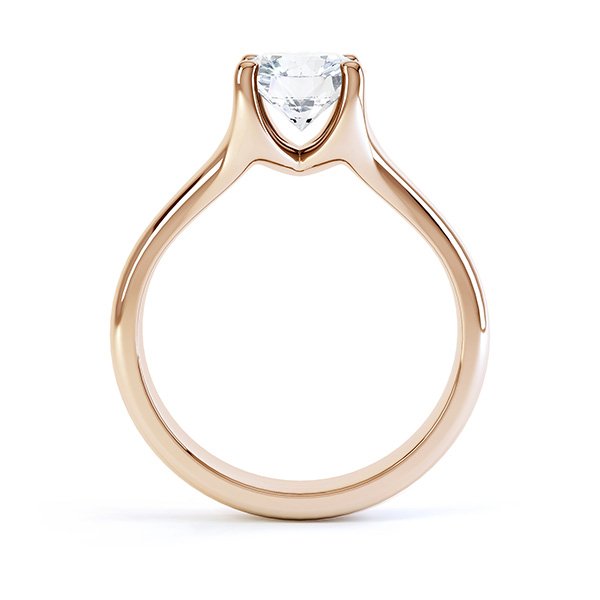 Side view of the Paris, split shoulder diamond solitaire engagement ring, rose gold