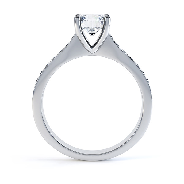 4 Claw Round Solitaire Diamond Shoulders Platinum side view