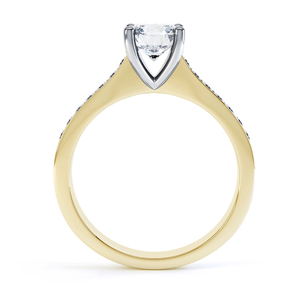 4 Claw Round Solitaire Diamond Shoulders yellow gold side view