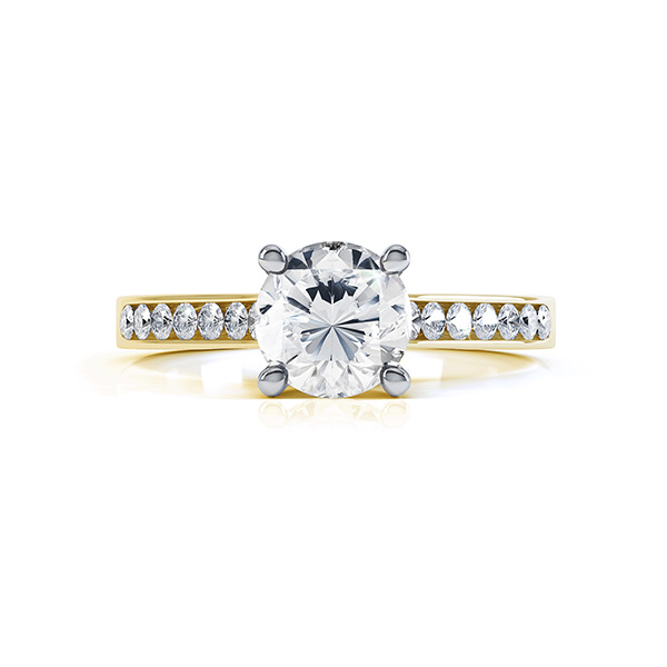 4 Claw Round Solitaire Diamond Shoulders yellow gold side view4 Claw Round Solitaire Diamond Shoulders yellow gold top view
