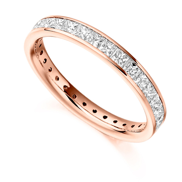 1.60cts Princess Diamond Full Eternity Ring In Rose Gold