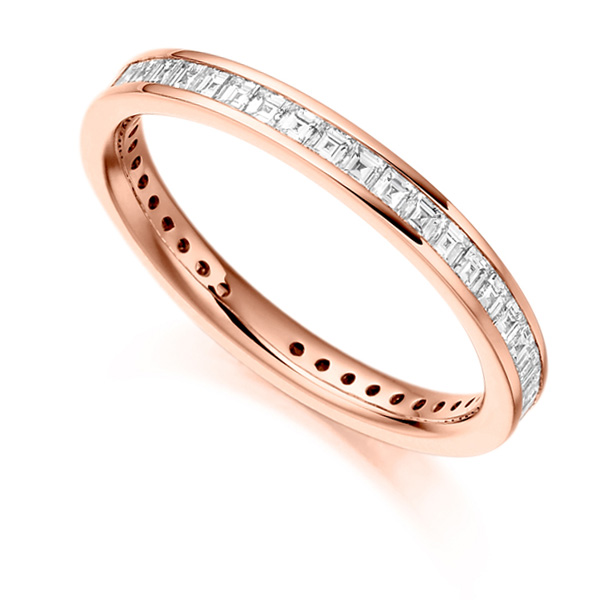 1 Carat Carré Cut Full Diamond Eternity Ring In Rose Gold