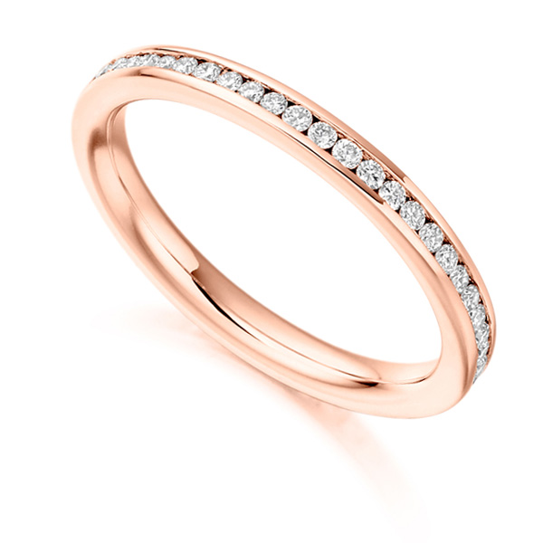 0.41cts Round Diamond Full Eternity Ring Channel Set In Rose Gold