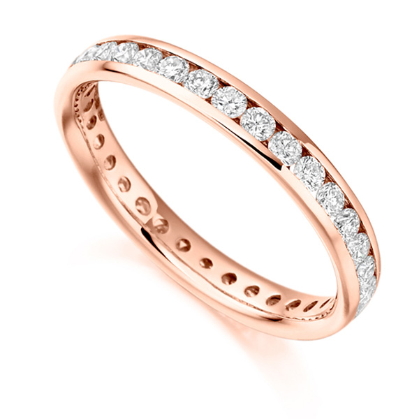 0.90cts Round Diamond Full Eternity Ring Channel Set In Rose Gold