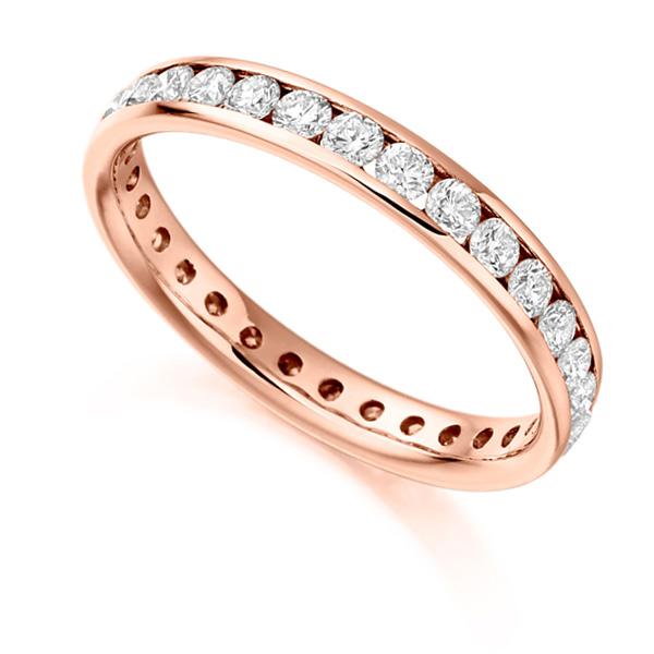 1 Carat Round Brilliant Full Diamond Eternity Ring In Rose Gold