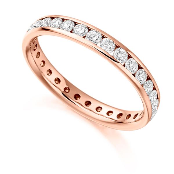 1 Carat Round Brilliant Full Diamond Eternity Ring In Rose Gold