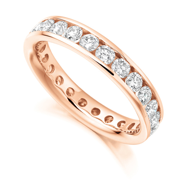 2 Carat Round Diamond Full Eternity Ring Channel Set In Rose Gold